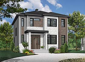 Contemporary , Modern House Plan 76495 with 3 Beds, 2 Baths Elevation