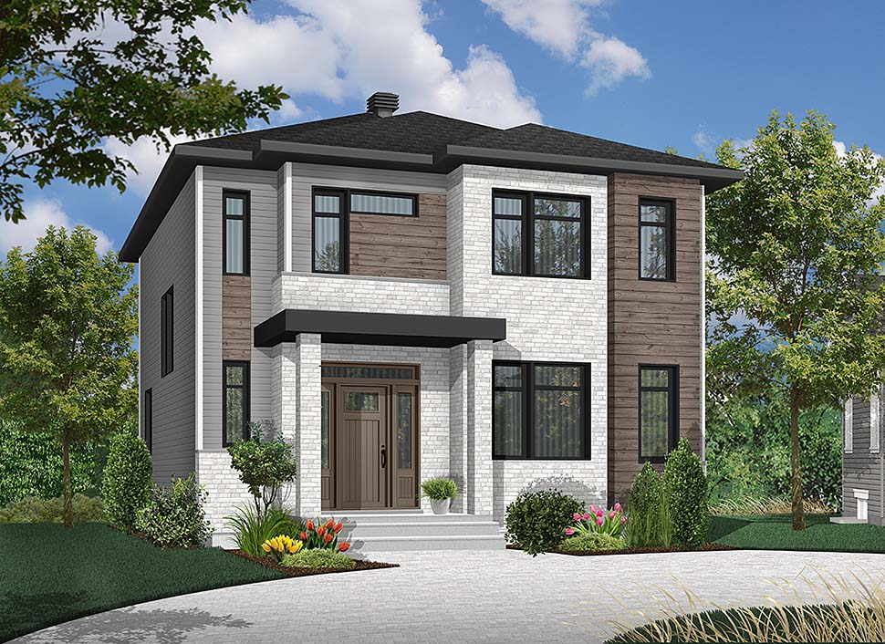 Contemporary, Modern House Plan 76495 with 3 Beds, 2 Baths Front Elevation