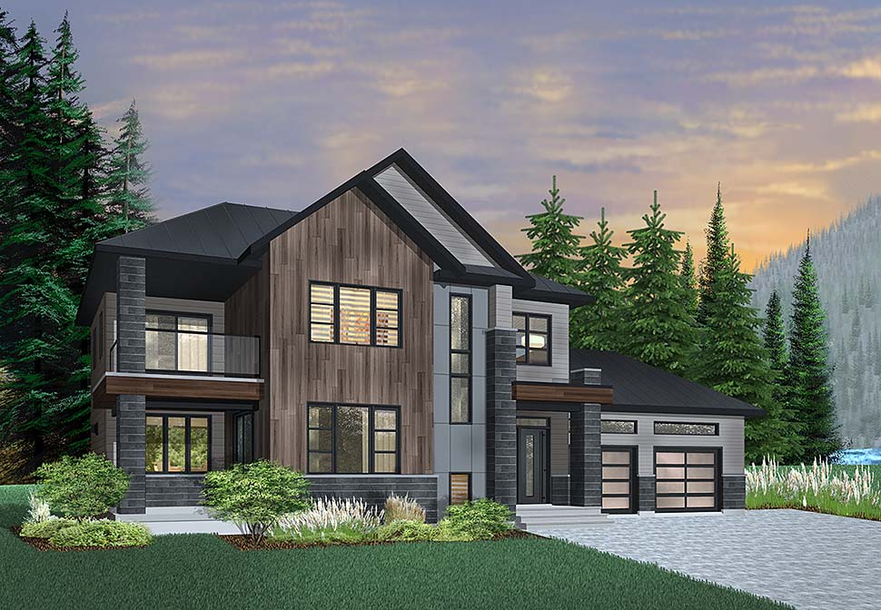 Contemporary , Modern House Plan 76498 with 3 Beds, 3 Baths, 2 Car Garage Elevation