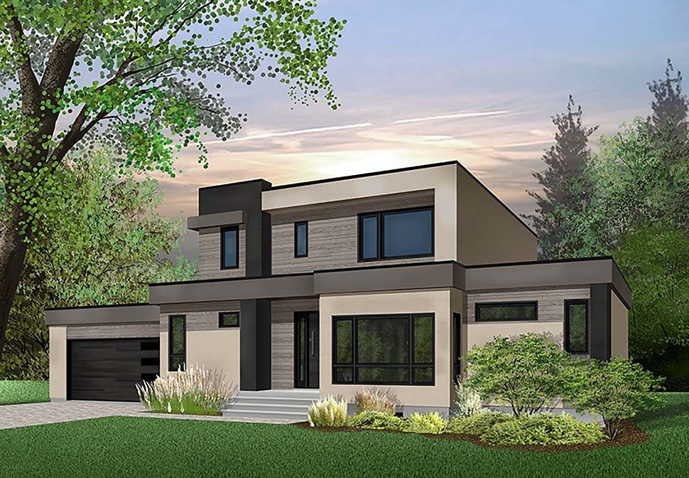 Contemporary, Modern House Plan 76499 with 4 Beds, 3 Baths, 2 Car Garage Elevation