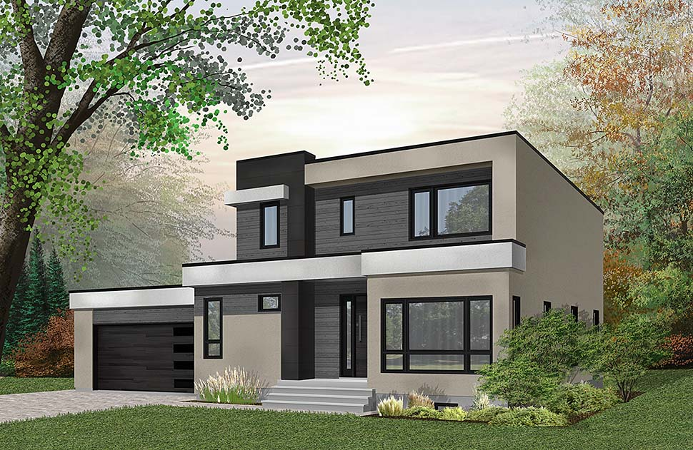 Contemporary, Modern House Plan 76500 with 3 Beds, 3 Baths, 2 Car Garage Front Elevation