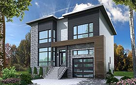 Modern , Contemporary House Plan 76502 with 4 Beds, 4 Baths, 1 Car Garage Elevation