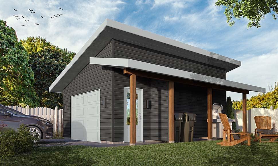 Modern , Craftsman , Contemporary 1 Car Garage Plan 76506 Elevation