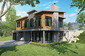 Modern , Cottage , Contemporary House Plan 76507 with 3 Beds, 3 Baths, 1 Car Garage Elevation