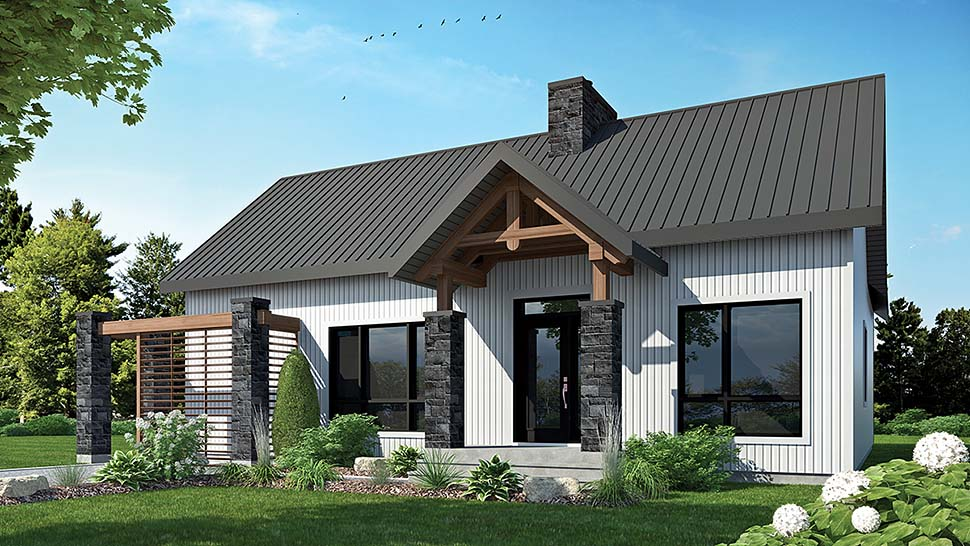 Cape Cod , Contemporary , Cottage , Country , Craftsman , Modern House Plan 76508 with 2 Beds, 1 Baths Elevation