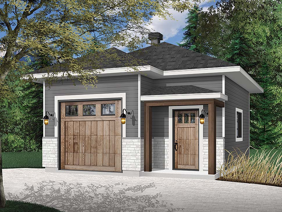 Contemporary, European, Modern 1 Car Garage Plan 76512 Elevation