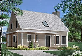 Colonial , Cottage , Country House Plan 76515 with 3 Beds, 2 Baths Elevation