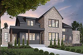 House Plan 76518 | Cottage Craftsman Farmhouse Modern Style Plan with 3164 Sq Ft, 4 Bedrooms, 4 Bathrooms, 2 Car Garage Elevation