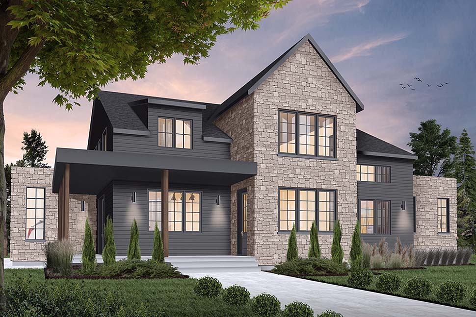 Cottage, Craftsman, Farmhouse, Modern House Plan 76518 with 4 Beds, 4 Baths, 2 Car Garage Elevation