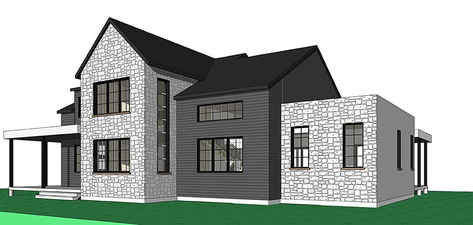 Cottage, Craftsman, Farmhouse, Modern House Plan 76518 with 4 Beds, 4 Baths, 2 Car Garage Rear Elevation