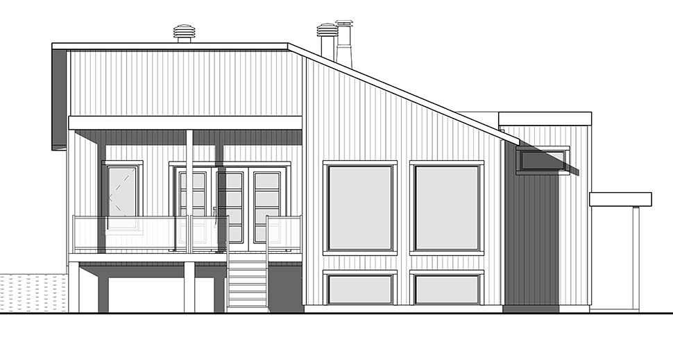Contemporary Cottage Country Modern Ranch House Plan 76520 Rear Elevation