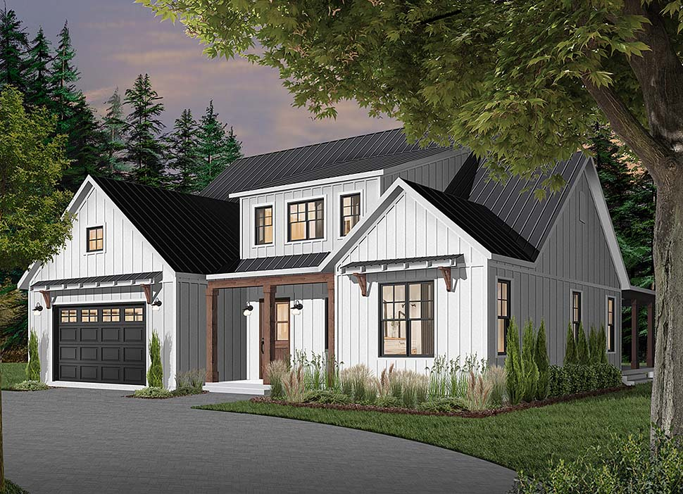 Cape Cod, Country, Craftsman, Farmhouse, Ranch Plan with 3354 Sq. Ft., 4 Bedrooms, 4 Bathrooms, 3 Car Garage Elevation