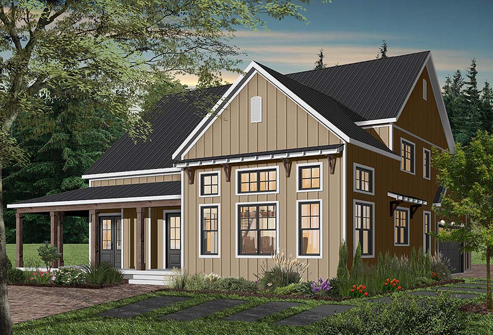 Cape Cod, Country, Craftsman, Farmhouse, Ranch Plan with 3354 Sq. Ft., 4 Bedrooms, 4 Bathrooms, 3 Car Garage Picture 3