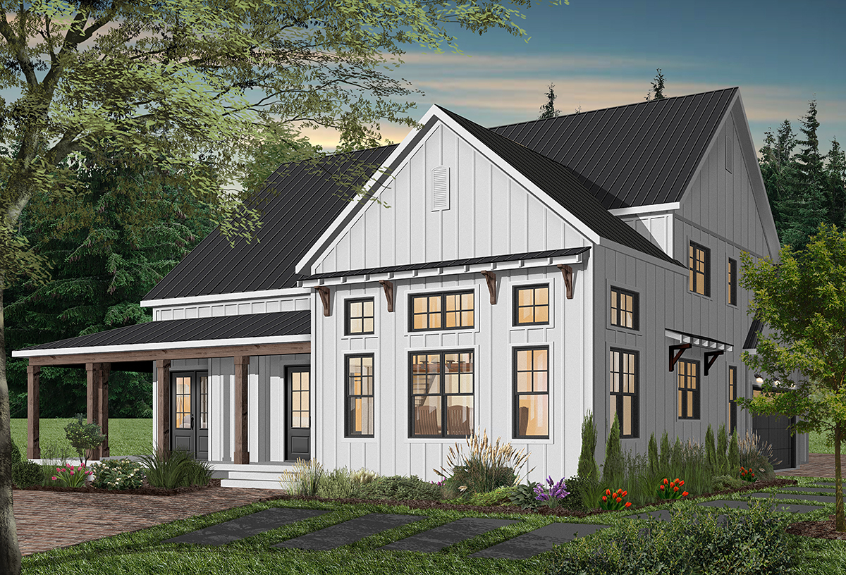 Cape Cod, Country, Craftsman, Farmhouse, Ranch Plan with 3354 Sq. Ft., 4 Bedrooms, 4 Bathrooms, 3 Car Garage Rear Elevation