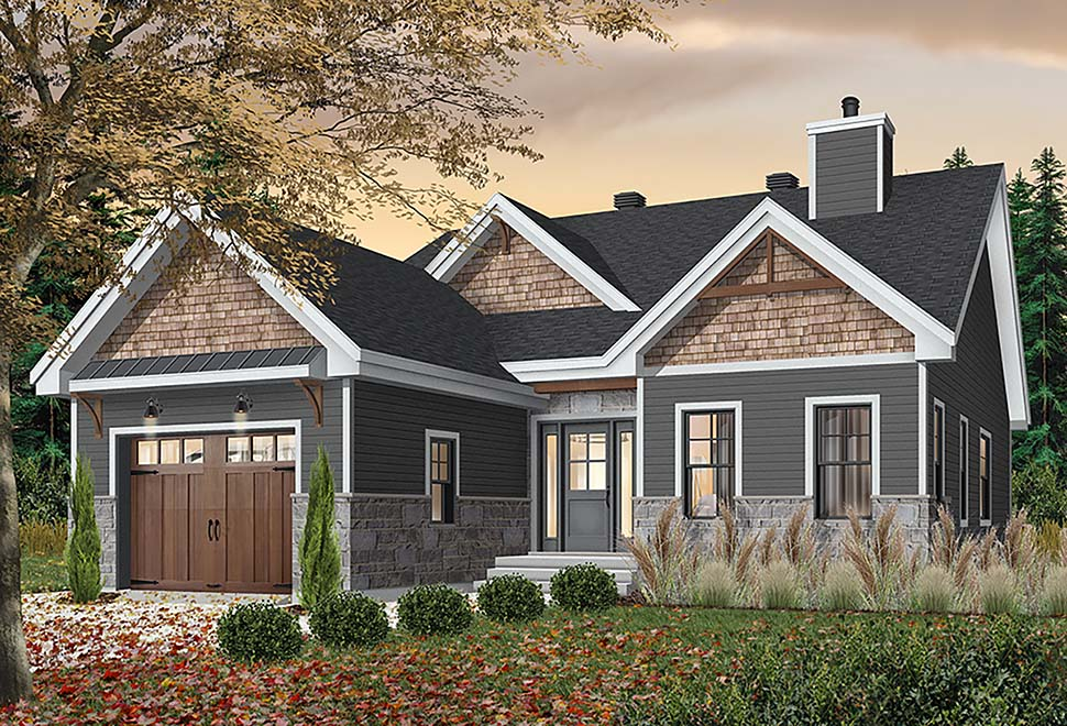 Country, Craftsman, Modern Farmhouse, Modern House Plan 76522 with 2 Beds , 2 Baths , 1 Car Garage Elevation