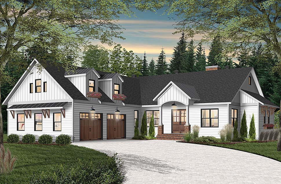 Cottage, Craftsman, Farmhouse, House Plan 76523 with 3 Beds, 3 Baths, 2 Car Garage Elevation