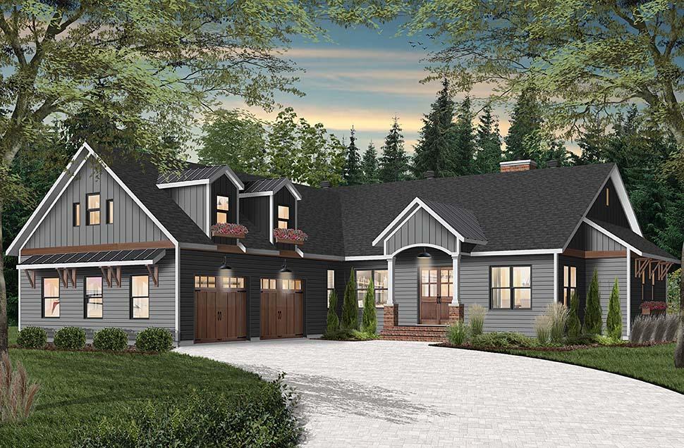 Cottage, Craftsman, Farmhouse House Plan 76523 with 3 Beds, 3 Baths, 2 Car Garage Picture 1