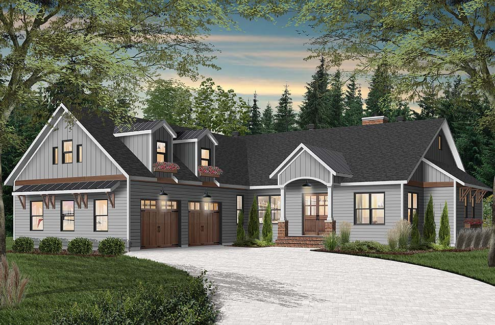 Cottage, Craftsman, Farmhouse House Plan 76523 with 3 Beds, 3 Baths, 2 Car Garage Picture 3