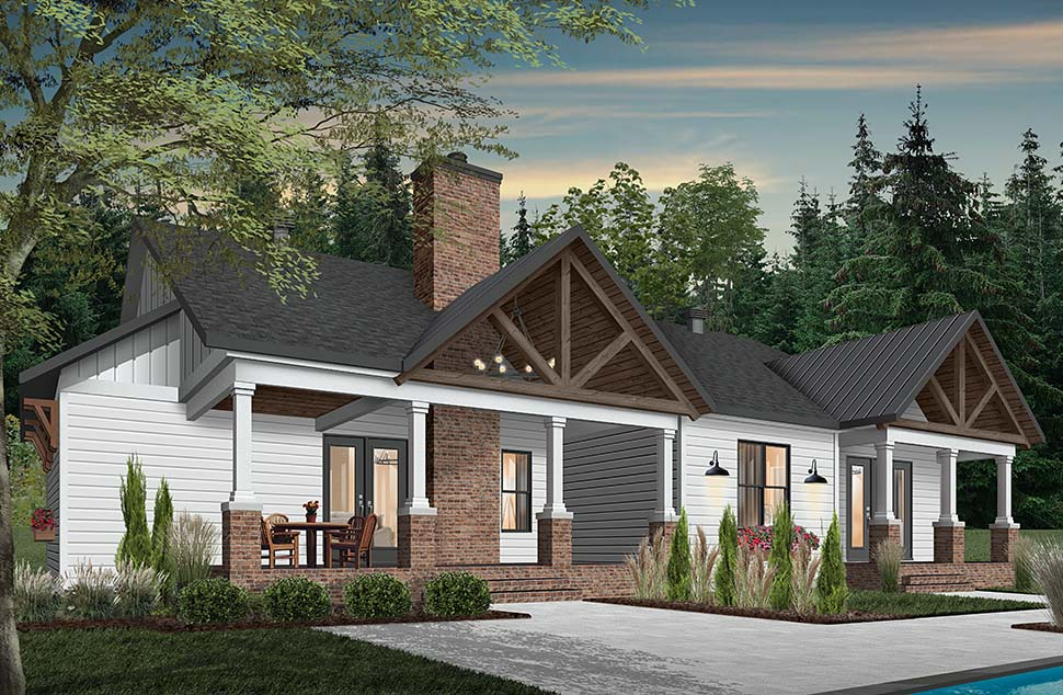 Cottage, Craftsman, Farmhouse, House Plan 76523 with 3 Beds, 3 Baths, 2 Car Garage Rear Elevation
