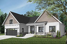 Bungalow House Plan 76524 with 2 Beds, 2 Baths, 2 Car Garage Elevation
