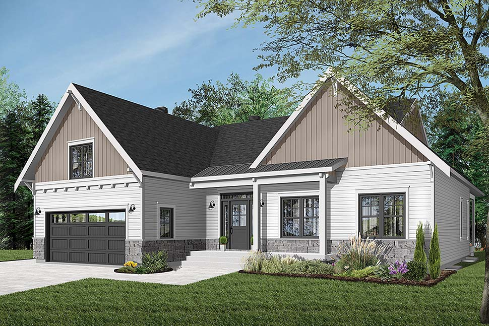 Bungalow House Plan 76524 with 2 Beds, 2 Baths, 2 Car Garage Front Elevation
