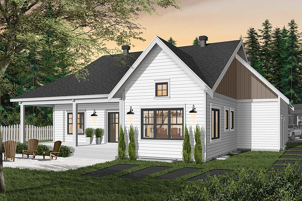 Bungalow House Plan 76524 with 2 Beds, 2 Baths, 2 Car Garage Rear Elevation