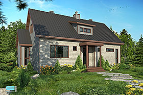 Cabin , Cottage House Plan 76525 with 3 Beds, 2 Baths Elevation