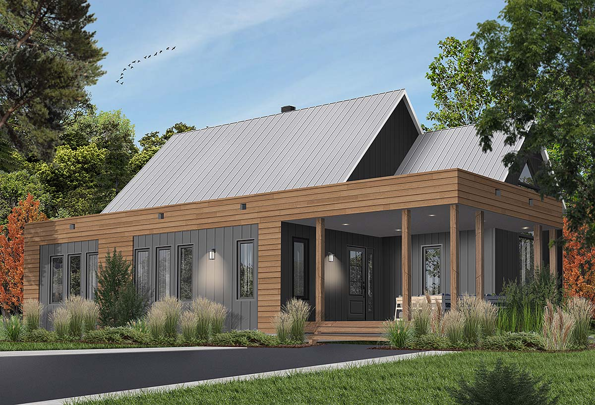 Contemporary , Cottage , Modern House Plan 76527 with 2 Beds, 1 Baths Elevation
