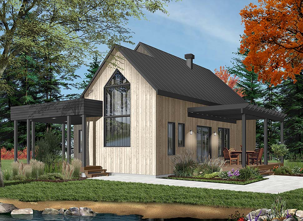 House Plan 76527 | Contemporary Cottage Modern Style Plan with 1200 Sq Ft, 2 Bedrooms, 1 Bathrooms