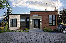 House Plan 76529 | Contemporary Cottage Modern Style Plan with 1269 Sq Ft, 2 Bedrooms, 1 Bathrooms Elevation
