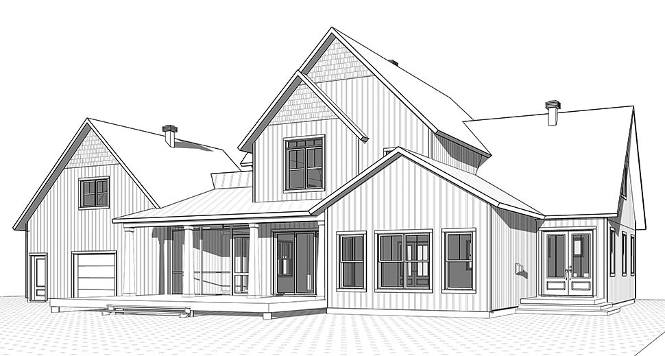 House Plan 76530 | Country Farmhouse Traditional Style Plan with 3532 Sq Ft, 5 Bedrooms, 4 Bathrooms, 2 Car Garage Rear Elevation