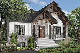 Cottage , Country , Craftsman House Plan 76532 with 2 Beds, 1 Baths Elevation