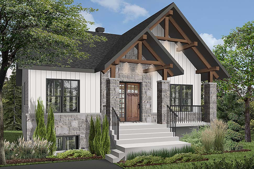 Cottage, Country, Craftsman House Plan 76532 with 2 Beds, 1 Baths Elevation