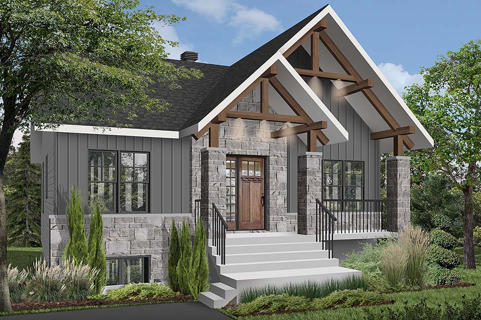 Cottage, Country, Craftsman House Plan 76532 with 2 Beds, 1 Baths Picture 1