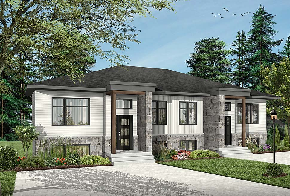 Contemporary , Modern Multi-Family Plan 76534 with 8 Beds, 4 Baths Elevation