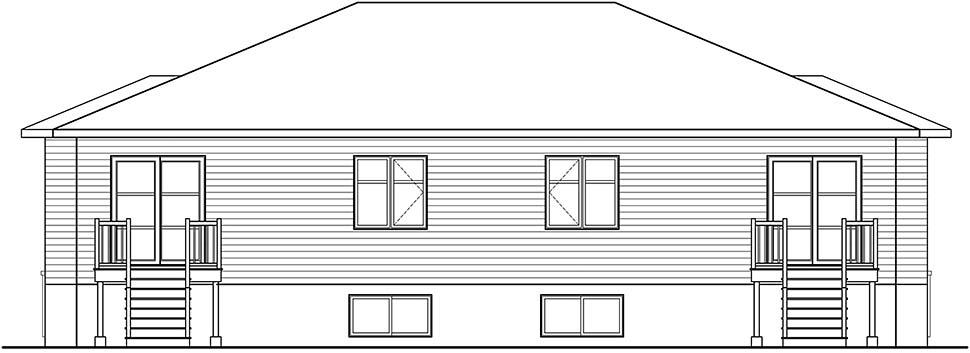 Contemporary Modern Rear Elevation of Plan 76534