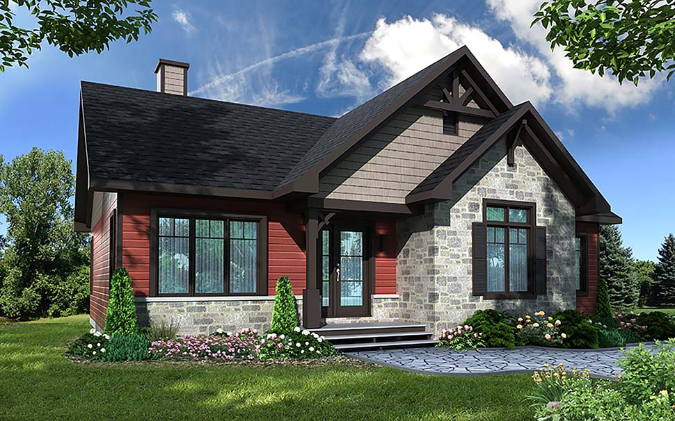 Bungalow, Cottage, Craftsman House Plan 76536 with 3 Beds, 1 Baths Elevation