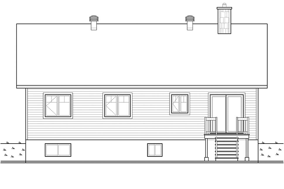 Bungalow Cottage Craftsman Rear Elevation of Plan 76536