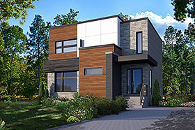 Contemporary , Modern House Plan 76537 with 3 Beds, 2 Baths Elevation