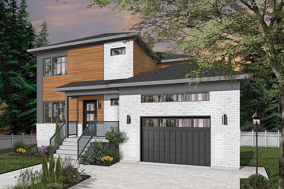 Contemporary , Modern House Plan 76539 with 3 Beds, 3 Baths, 1 Car Garage Elevation