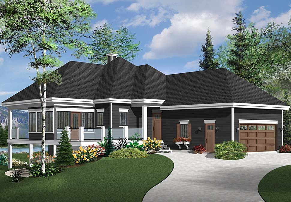 Coastal, European, Traditional House Plan 76541 with 4 Beds, 3 Baths, 2 Car Garage Picture 1