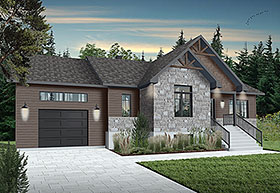 Bungalow , Craftsman House Plan 76542 with 2 Beds, 1 Baths, 1 Car Garage Elevation