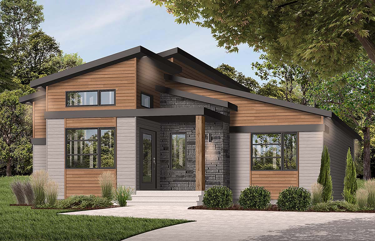 Contemporary , Modern House Plan 76543 with 1 Beds, 2 Baths Elevation