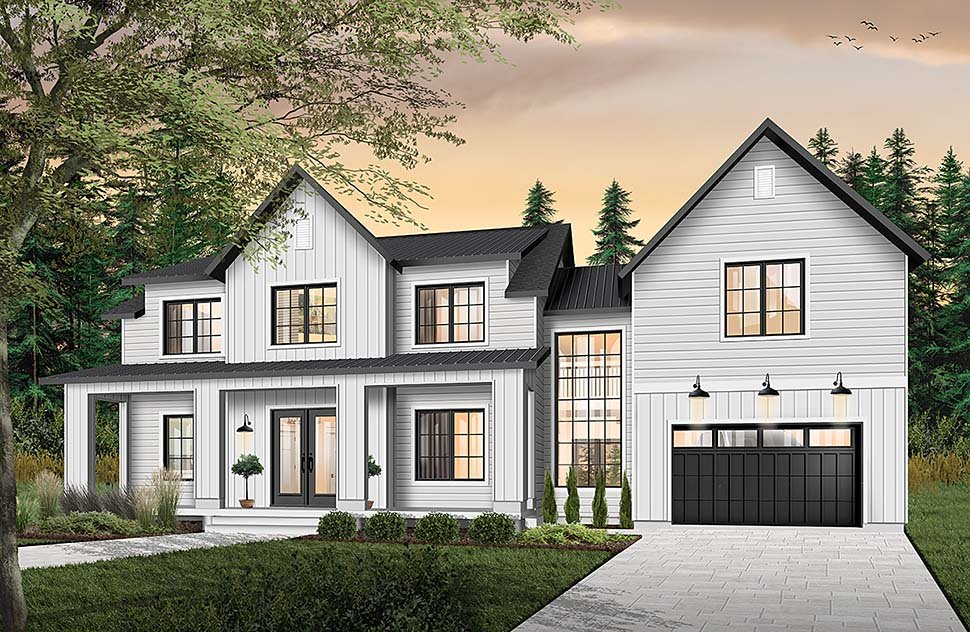 Colonial Farmhouse Traditional Elevation of Plan 76544