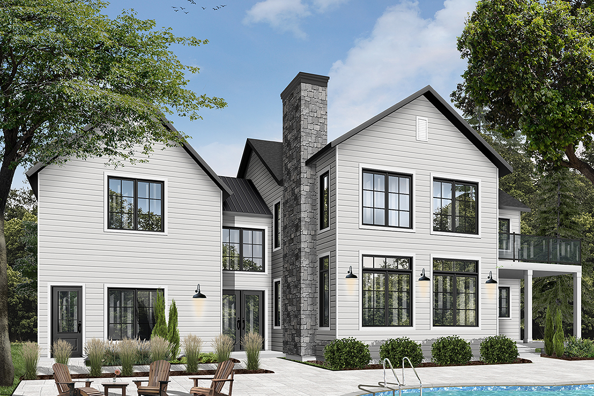 Colonial Farmhouse Traditional Rear Elevation of Plan 76544