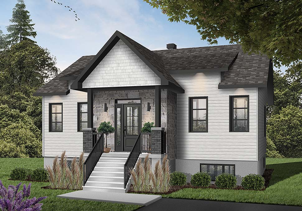 Contemporary , Cottage House Plan 76546 with 2 Beds, 1 Baths Elevation