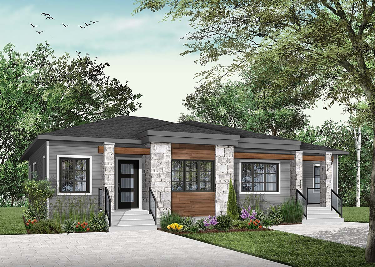 Contemporary, Modern Multi-Family Plan 76548 with 4 Beds, 2 Baths Picture 1