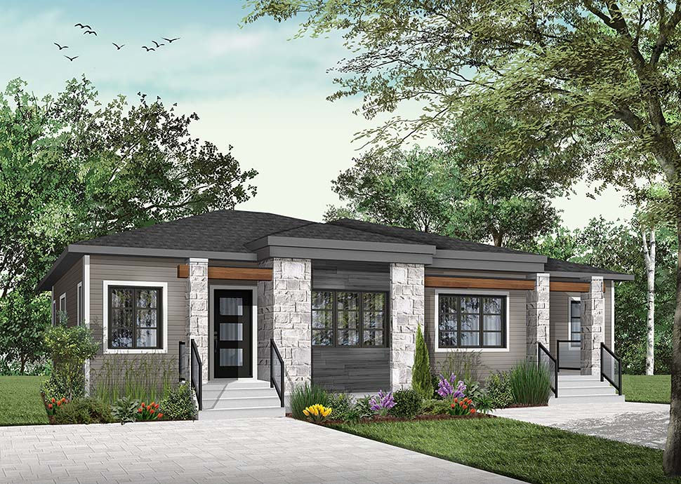 Contemporary, Modern Multi-Family Plan 76548 with 4 Beds, 2 Baths Picture 2