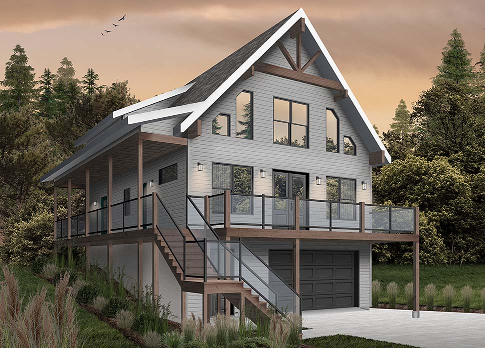 A-Frame, Cabin, Coastal, Cottage, Country House Plan 76550 with 4 Beds, 3 Baths, 1 Car Garage Picture 2