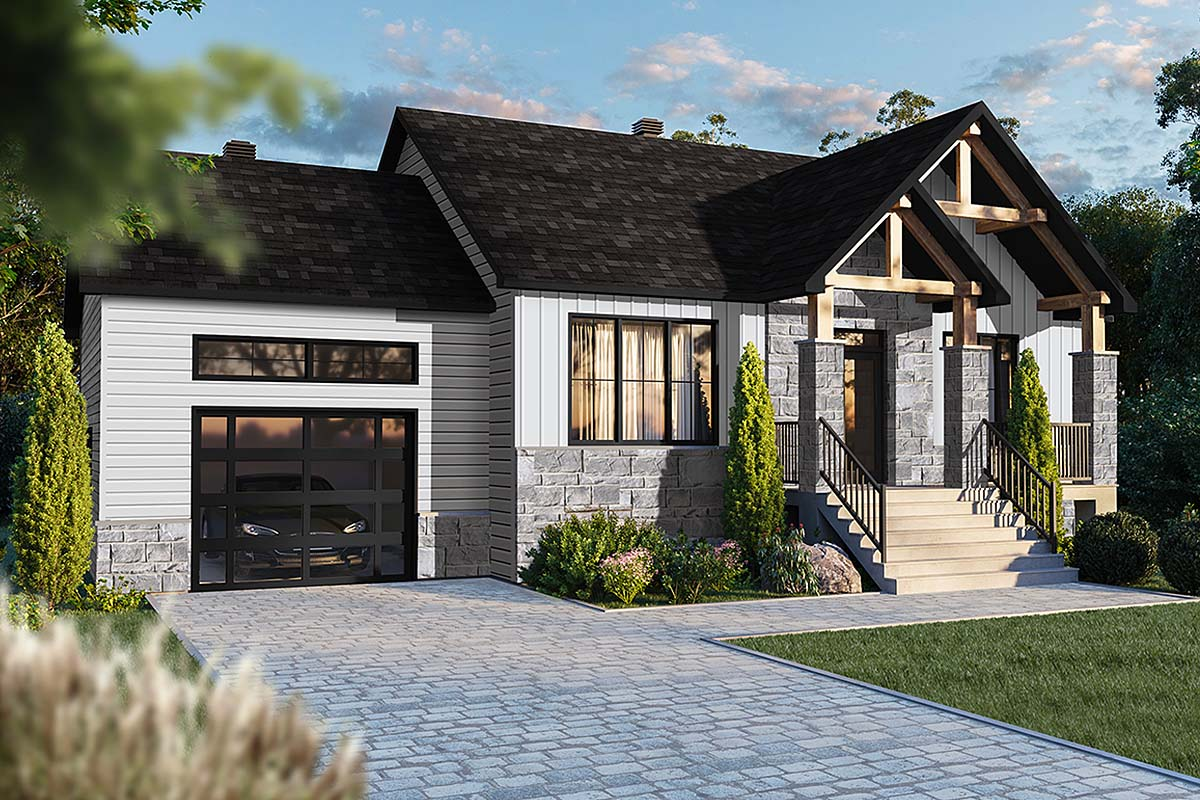 Country, Craftsman, Ranch House Plan 76556 with 2 Beds, 1 Baths, 1 Car Garage Elevation